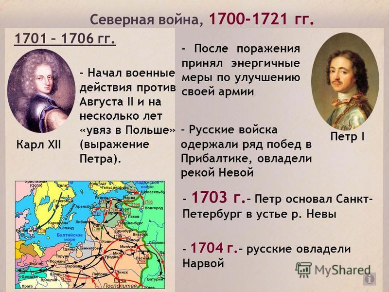 Северная война, 1700-1721 гг. Карл XII - Начал военные действия против Августа II и на несколько лет «увяз в Польше» (выражение Петра). 1701 – 1706 гг. Петр I - После поражения принял энергичные меры по улучшению своей армии - Русские войска одержали