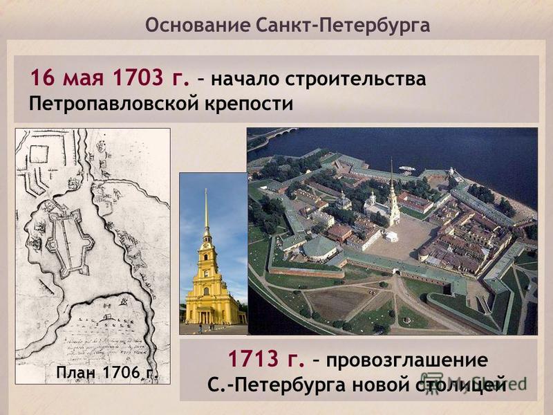 Основание Санкт-Петербурга 16 мая 1703 г. – начало строительства Петропавловской крепости План 1706 г. 1713 г. – провозглашение С.-Петербурга новой столицей