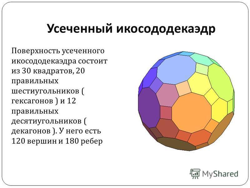 Усеченный икосододекаэдр Поверхность усеченного икосододекаэдра состоит из 30 квадратов, 20 правильных шестиугольников ( гексагенов ) и 12 правильных десятиугольников ( декагонов ). У него есть 120 вершин и 180 ребер