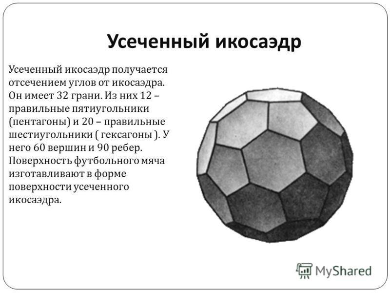 Усеченный икосаэдр Усеченный икосаэдр получается отсечением углов от икосаэдра. Он имеет 32 грани. Из них 12 – правильные пятиугольники ( пентагоны ) и 20 – правильные шестиугольники ( гексагены ). У него 60 вершин и 90 ребер. Поверхность футбольного