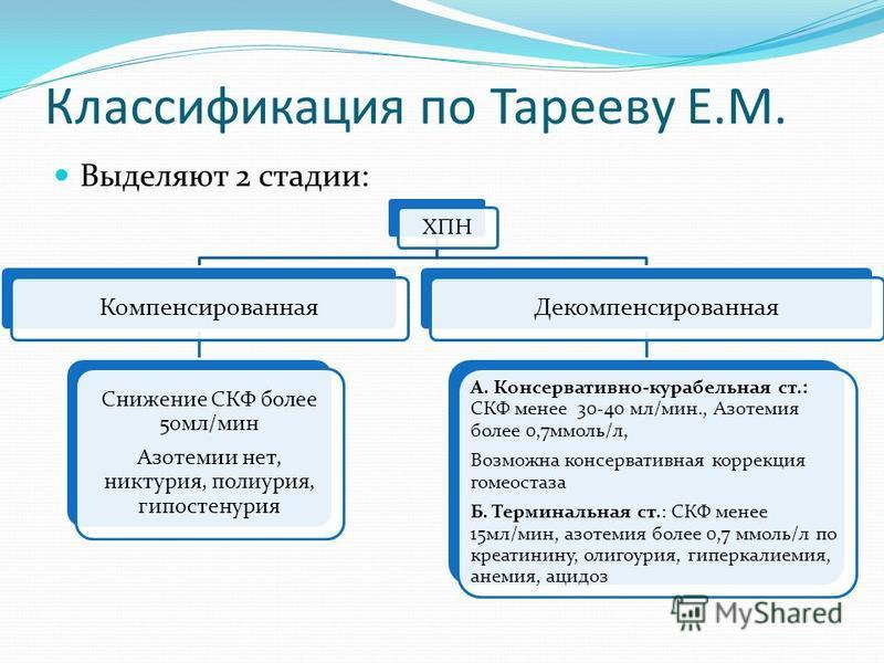 Классификация по Тарееву Е.М. Выделяют 2 стадии: ХПН Компенсированная Снижение СКФ более 50 мл/мин Азотемии нет, никтурия, полиурия, гипостенурия Декомпенсированная А. Консервативно-корабельная ст.: СКФ менее 30-40 мл/мин., Азотемия более 0,7 ммоль/л