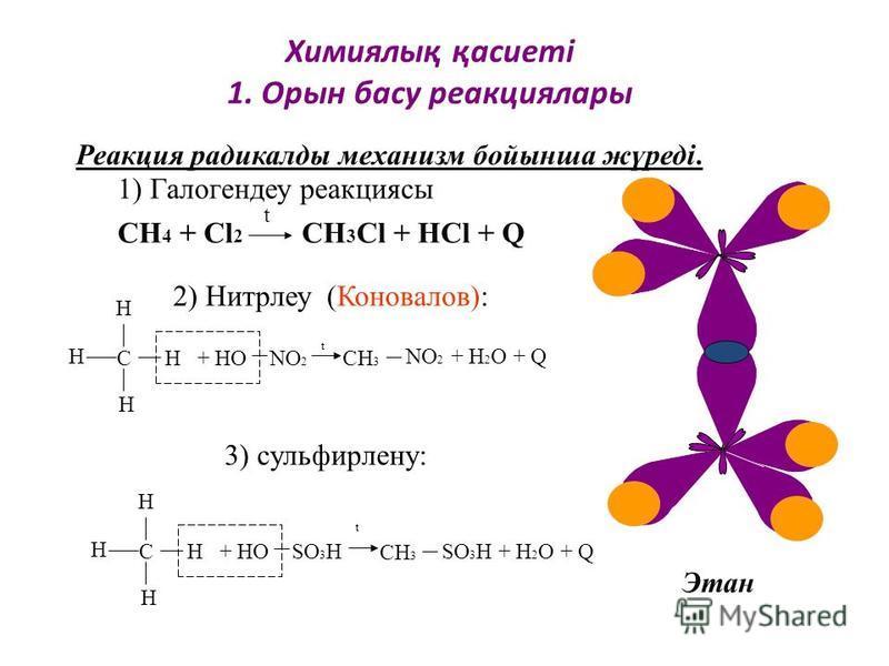 СН 4 + Сl 2 CH 3 Cl + HCl + Q t Реакция радикалды механизм бойынша жүреді. Этан С Н Н Н Н + НО NO 2 СН 3 NO 2 + H 2 O + Q С Н Н Н Н + НО SO 3 H СН 3 SO 3 H + H 2 O + Q t t Химиялық қасиеті 1. Орын басу реакциялары 2) Нитрлеу (Коновалов): 3) сульфирле