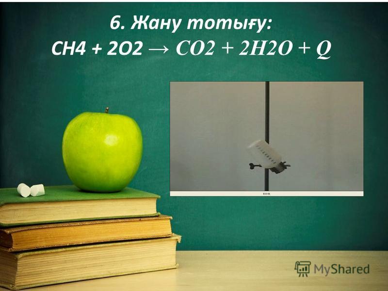 6. Жану тотығу: CH4 + 2O2 CO2 + 2H2O + Q
