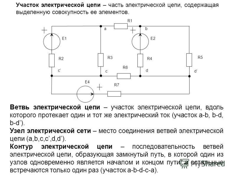 Участок электрической цепи – часть электрической цепи, содержащая выделенную совокупность ее элементов. Ветвь электрической цепи – участок электрической цепи, вдоль которого протекает один и тот же электрический ток (участок a-b, b-d, b-d). Узел элек
