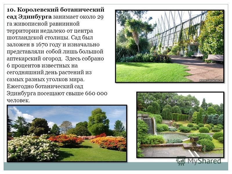 10. Королевский ботанический сад Эдинбурга занимает около 29 га живописной равнинной территории недалеко от центра шотландской столицы. Сад был заложен в 1670 году и изначально представляли собой лишь большой аптекарский огород. Здесь собрано 6 проце