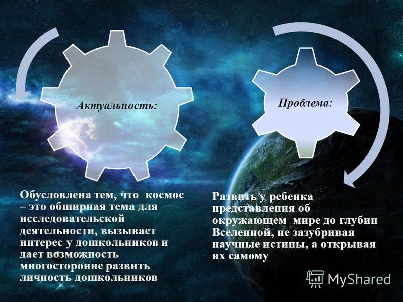 Развить у ребенка представления об окружающем мире до глубин Вселенной, не зазубривая научные истины, а открывая их самому Актуальность: Проблема: Обусловлена тем, что космос – это обширная тема для исследовательской деятельности, вызывает интерес у