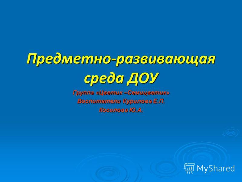 Предметно-развивающая среда ДОУ Группа «Цветик –Семицветик» Воспитатели Курилова Е.П. Косилова Ю.А.