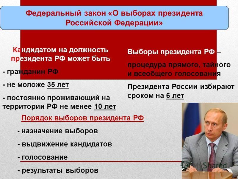 Федеральный закон «О выборах президента Российской Федерации» Кандидатом на должность президента РФ может быть - гражданин РФ - не моложе 35 лет - постоянно проживающий на территории РФ не менее 10 лет Порядок выборов президента РФ - назначение выбор