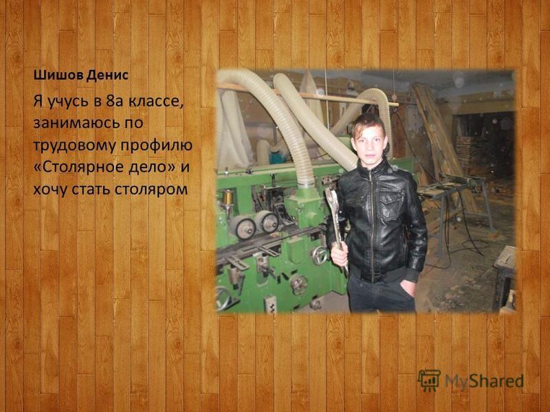Шишов Денис Я учусь в 8 а классе, занимаюсь по трудовому профилю «Столярное дело» и хочу стать столяром