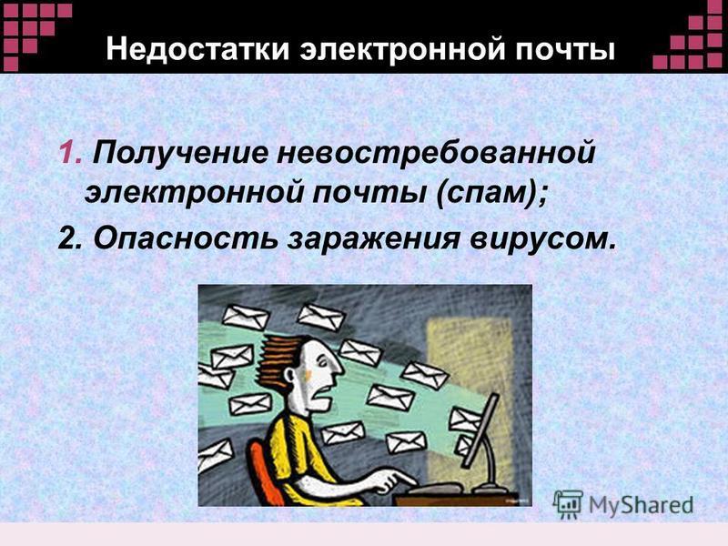 Недостатки электронной почты 1. Получение невостребованной электронной почты (спам); 2. Опасность заражения вирусом.