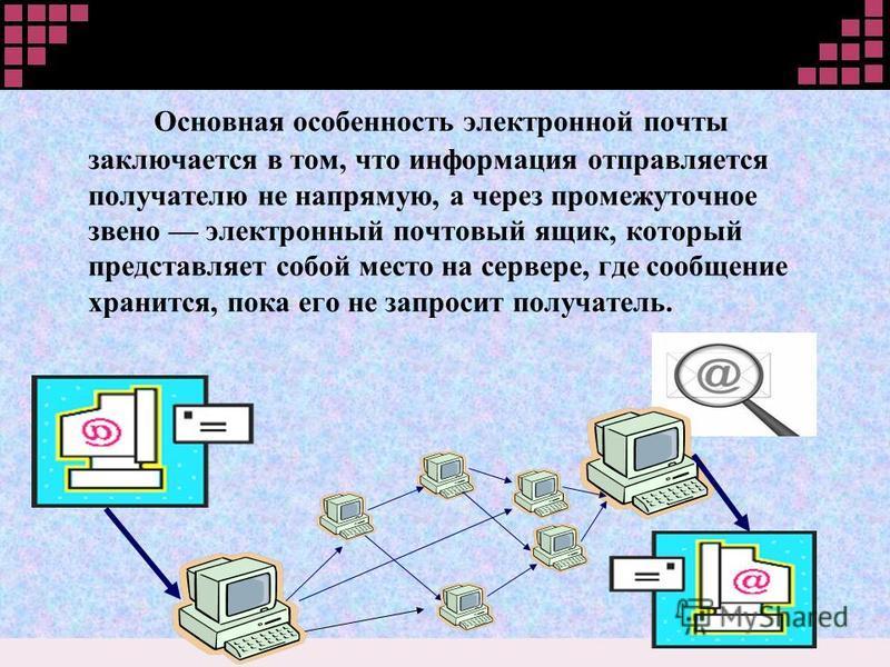 Основная особенность электронной почты заключается в том, что информация отправляется получателю не напрямую, а через промежуточное звено электронный почтовый ящик, который представляет собой место на сервере, где сообщение хранится, пока его не запр