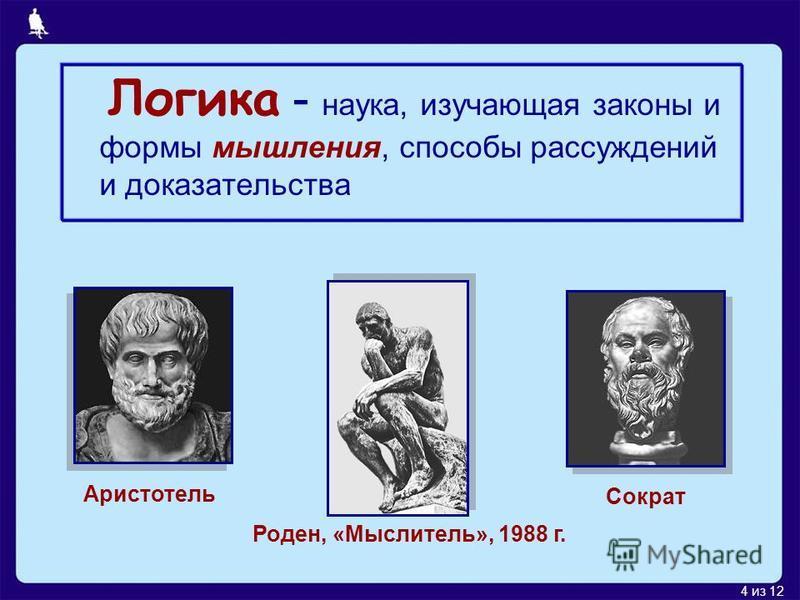 4 из 12 Логика - наука, изучающая законы и формы мышления, способы рассуждений и доказательства Аристотель Сократ Роден, «Мыслитель», 1988 г.