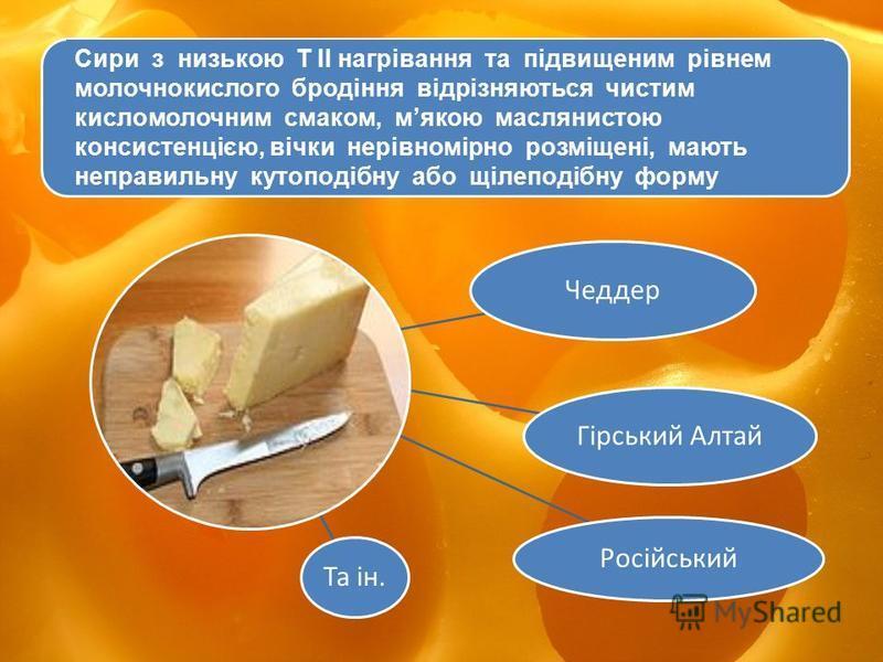 Сири типу Чеддер відрізняються чистим кисломолочним смаком, м'якою маслянистою консистенцією, вічки нерівномірно розміщені, мають неправильну кутоподібну або щілеподібну форму. Чеддер Гірський Алтай Російський Та ін. Сири з низькою Т ІІ нагрівання та