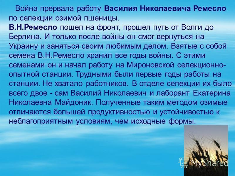 Война прервала работу Василия Николаевича Ремесло по селекции озимой пшеницы. В.Н.Ремесло пошел на фронт, прошел путь от Волги до Берлина. И только после войны он смог вернуться на Украину и заняться своим любимым делом. Взятые с собой семена В.Н.Рем