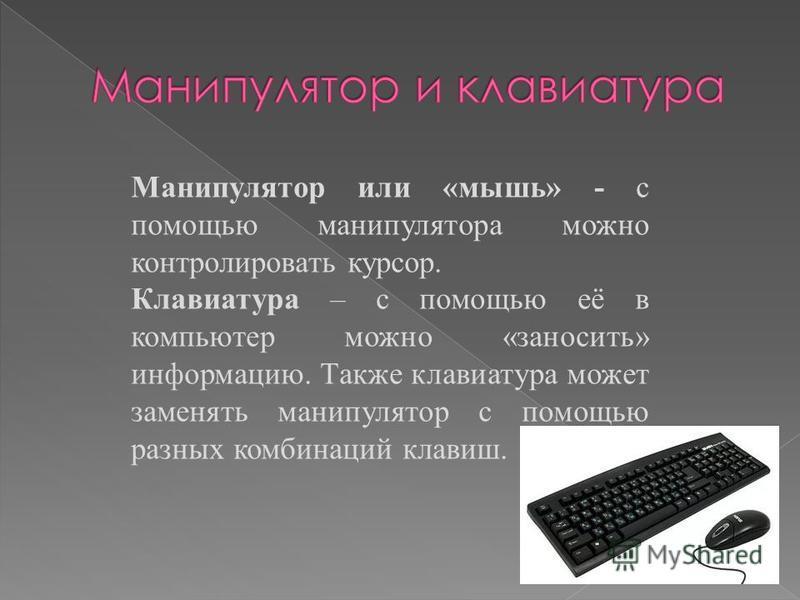 Манипулятор или «мышь» - с помощью манипулятора можно контролировать курсор. Клавиатура – с помощью её в компьютер можно «заносить» информацию. Также клавиатура может заменять манипулятор с помощью разных комбинаций клавиш.