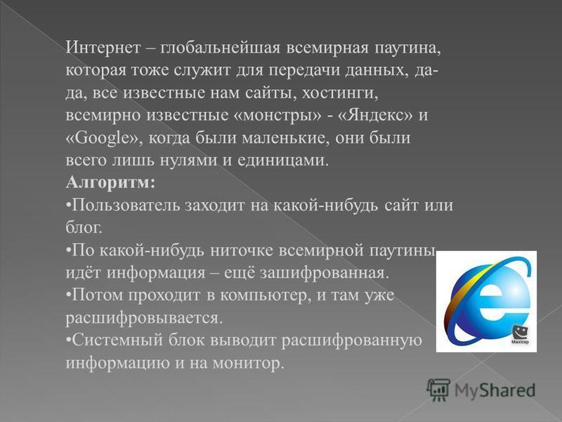 Интернет – глобальнейшая всемирная паутина, которая тоже служит для передачи данных, да- да, все известные нам сайты, хостинги, всемирно известные «монстры» - «Яндекс» и «Google», когда были маленькие, они были всего лишь нулями и единицами. Алгоритм