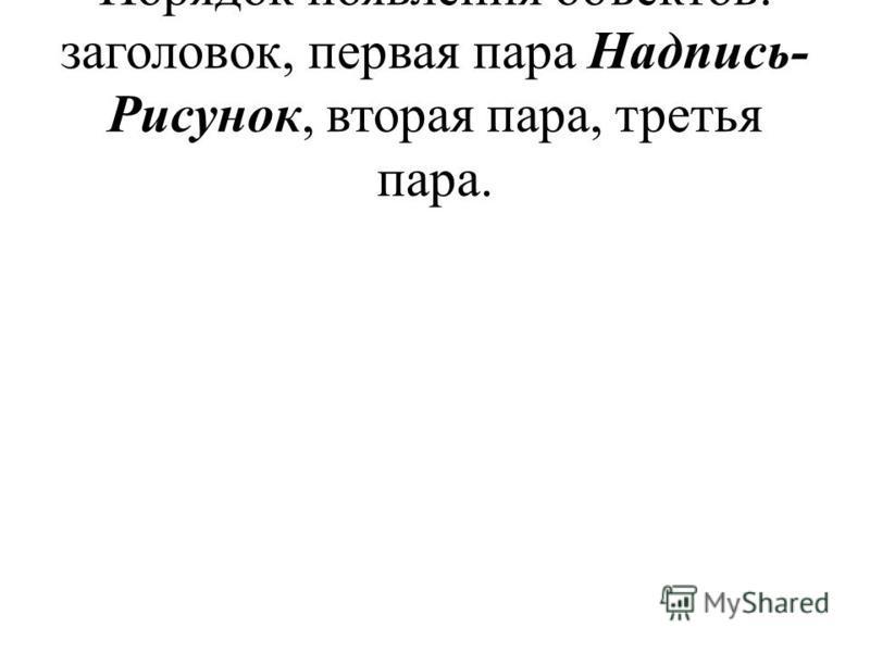 Порядок появления объектов: заголовок, первая пара Надпись- Рисунок, вторая пара, третья пара.