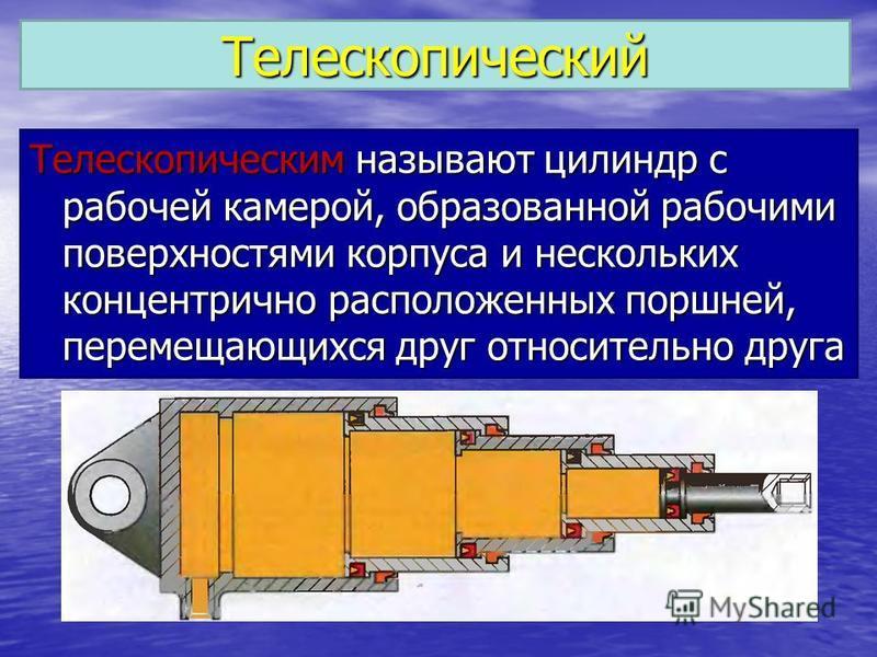 Телескопический Телескопическим называют цилиндр с рабочей камерой, образованной рабочими поверхностями корпуса и нескольких концентрично расположенных поршней, перемещающихся друг относительно друга