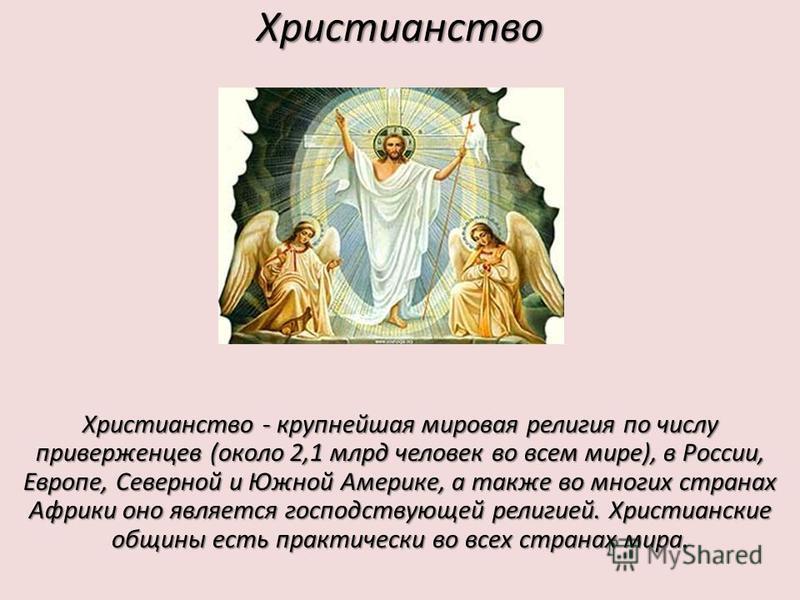 Христианство Христианство - крупнейшая мировая религия по числу приверженцев (около 2,1 млрд человек во всем мире), в России, Европе, Северной и Южной Америке, а также во многих странах Африки оно является господствующей религией. Христианские общины