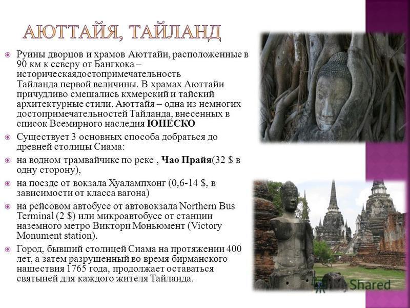 Руины дворцов и храмов Аюттайи, расположенные в 90 км к северу от Бангкока – историческая достопримечательность Тайланда первой величины. В храмах Аюттайи причудливо смешались кхмерский и тайский архитектурные стили. Аюттайя – одна из немногих достоп