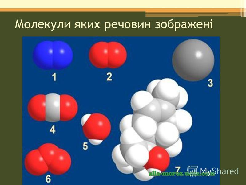 Молекули яких речовин зображені