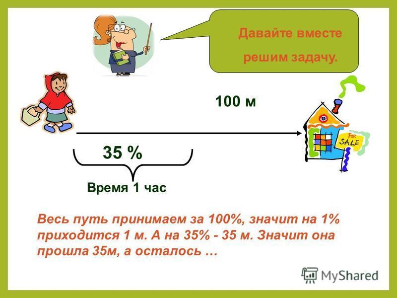 100 м 35 % Время 1 час Весь путь принимаем за 100%, значит на 1% приходится 1 м. А на 35% - 35 м. Значит она прошла 35 м, а осталось … Давайте вместе решим задачу.