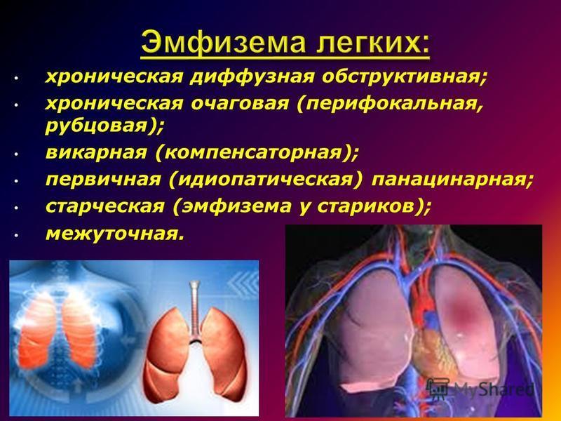 хроническая диффузная обструктывная; хроническая очаговая (перифокальная, рубцовая); викарная (компенсаторная); первичная (идиопатыческая) панацинарная; старческая (эмфизема у стариков); межуточная.