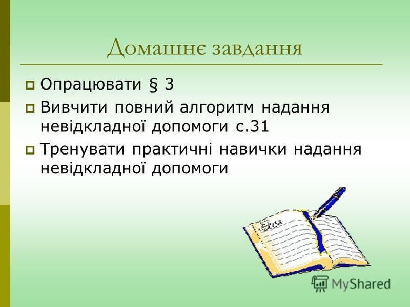 Домашнє завдання Опрацювати § 3 Вивчити повний алгоритм надання невідкладної допомоги с.31 Тренувати практичні навички надання невідкладної допомоги