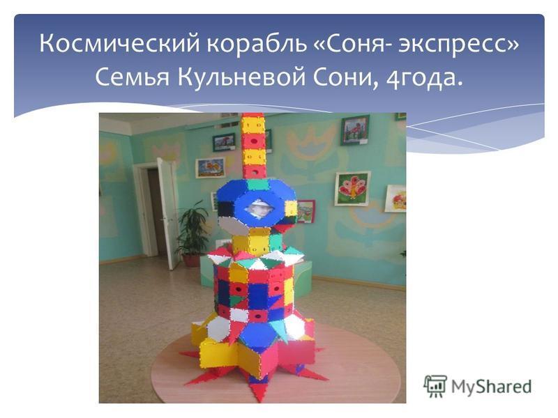 Космический корабль «Соня- экспресс» Семья Кульневой Сони, 4 года.