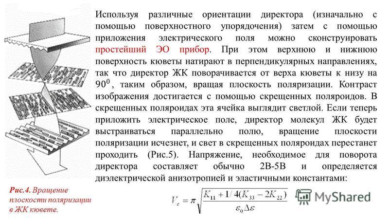 Рис.4. Вращение плоскости поляризации в ЖК кювете.