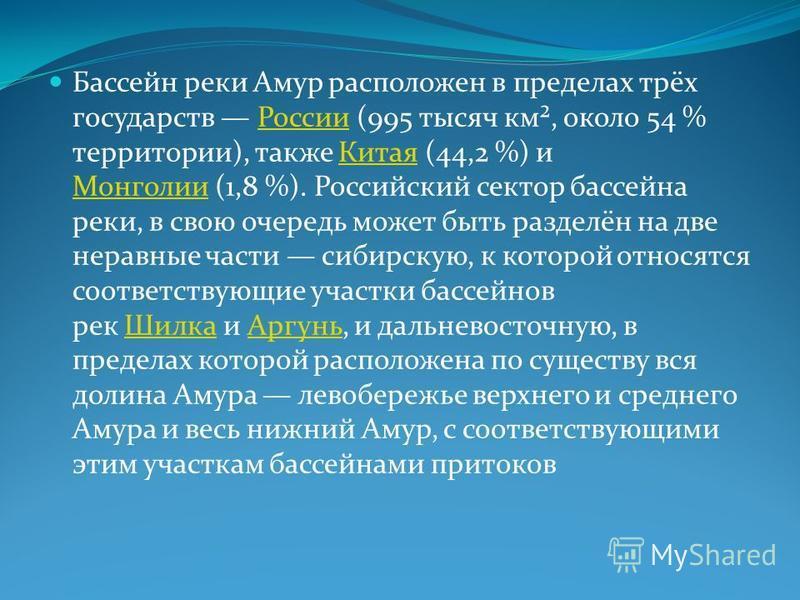 Бассейн реки Амур расположен в пределах трёх государств России (995 тысяч км², около 54 % территории), также Китая (44,2 %) и Монголии (1,8 %). Российский сектор бассейна реки, в свою очередь может быть разделён на две неравные части сибирскую, к кот