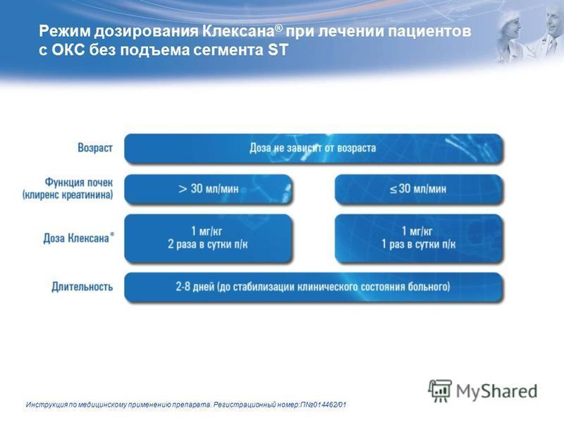 Режим дозирования Клексана ® при лечении пациентов с ОКС без подъема сегмента ST Инструкция по медицинскому применению препарата. Регистрационный номер:П014462/01