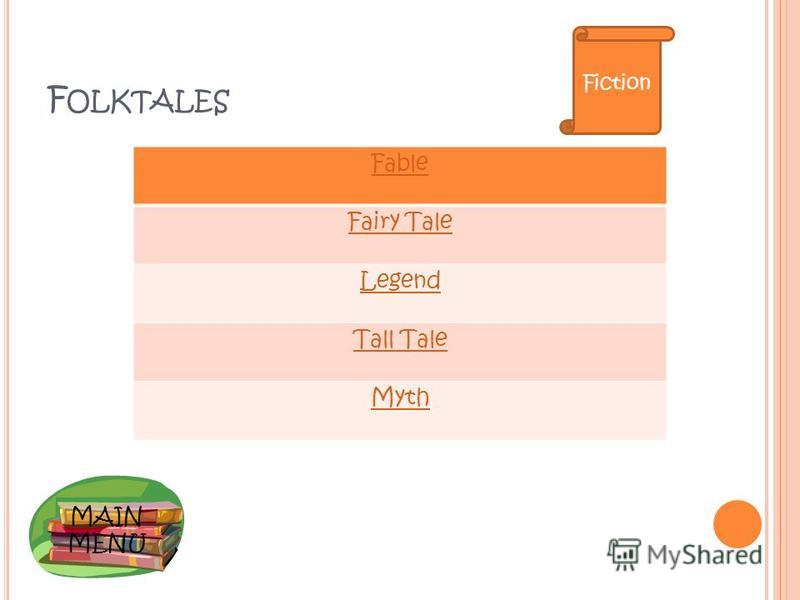 MAIN MENU F OLKTALES Fable Fairy Tale Legend Tall Tale Myth Fiction