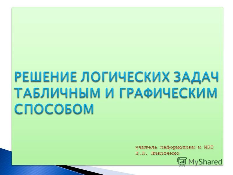 учитель информатики и ИКТ Н.Л. Никитенко учитель информатики и ИКТ Н.Л. Никитенко
