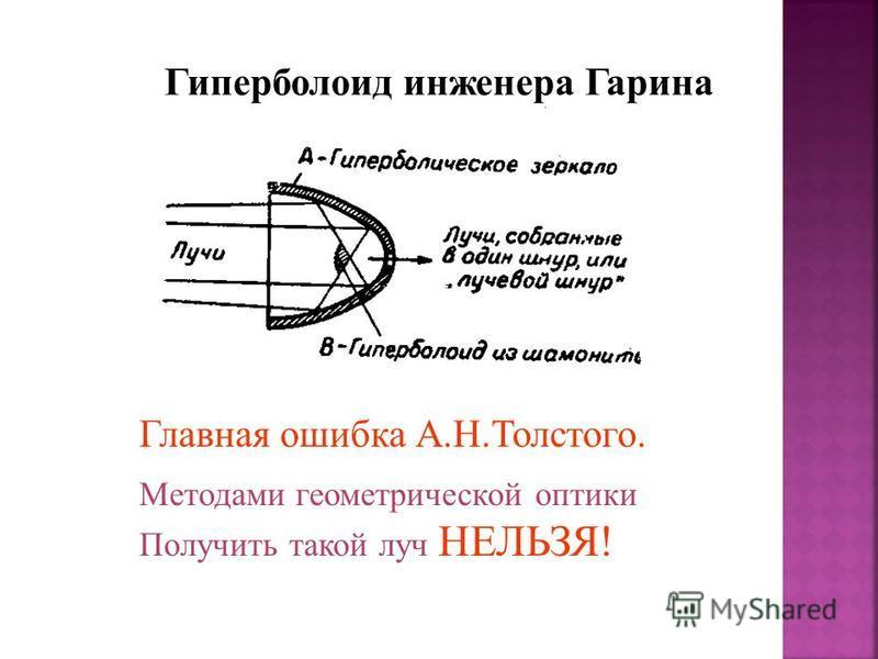 Гиперболоид инженера Гарина Главная ошибка А.Н.Толстого. Методами геометрической оптики Получить такой луч НЕЛЬЗЯ!