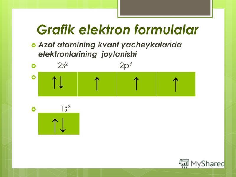 Grafik elektron formulalar Azot atomining kvant yacheykalarida elektronlarining joylanishi 2s 2 2p 3 1s 2