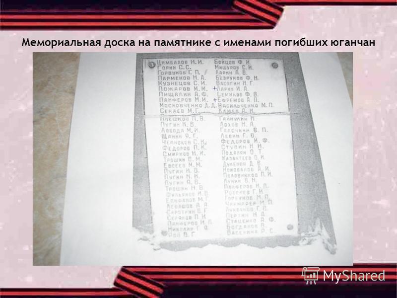 Мемориальная доска на памятнике с именами погибших юганчан