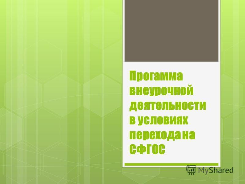 Прогамма внеурочной деятельности в условиях перехода на СФГОС