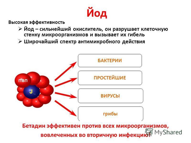 4 Йод Высокая эффективность Йод – сильнейший окислитель, он разрушает клеточную стенку микроорганизмов и вызывает их гибель Широчайший спектр антимикробного действия БАКТЕРИИ ПРОСТЕЙШИЕ грибы ВИРУСЫ Бетадин эффективен против всех микроорганизмов, вов