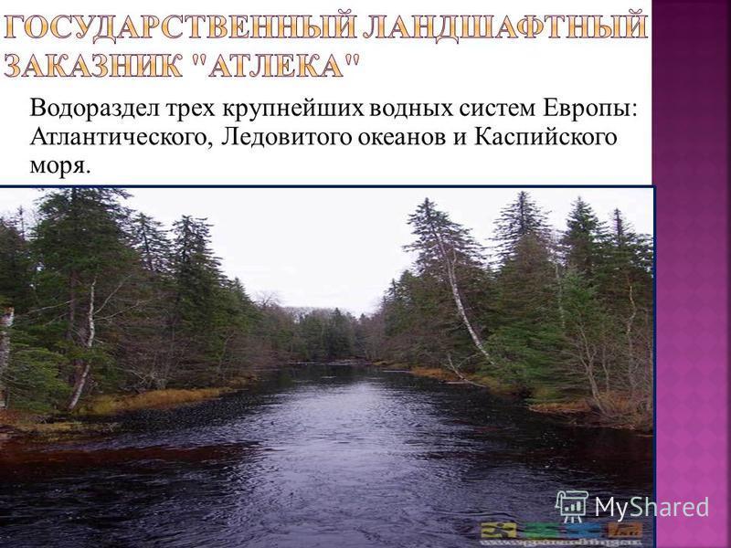 Водораздел трех крупнейших водных систем Европы: Атлантического, Ледовитого океанов и Каспийского моря.