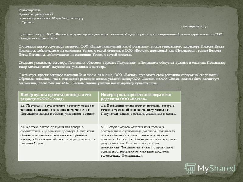 Редактировать Протокол разногласий к договору поставки 15-4/2013 от 2.03.13 г. Уральск «20» апреля 2013 г. 15 апреля 2013 г. ООО «Восток» получен проект договора поставки 15-4/2013 от 2.03.13, направленный в наш адрес письмом ООО «Запад» от 1 апреля