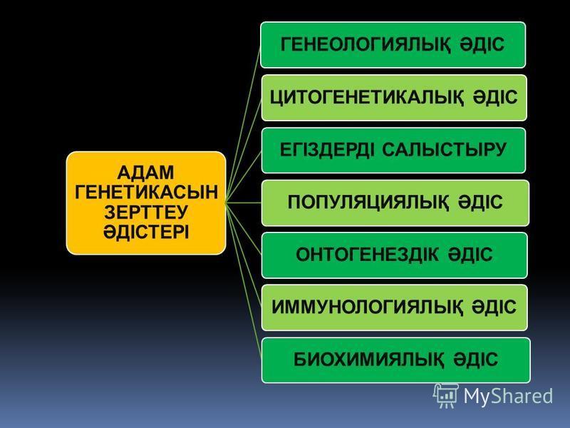 АДАМ ГЕНЕТИКАСЫН ЗЕРТТЕУ ӘДІСТЕРІ ГЕНЕОЛОГИЯЛЫҚ ӘДІСЦИТОГЕНЕТИКАЛЫҚ ӘДІСЕГІЗДЕРДІ САЛЫСТЫРУПОПУЛЯЦИЯЛЫҚ ӘДІСОНТОГЕНЕЗДІК ӘДІСИММУНОЛОГИЯЛЫҚ ӘДІСБИОХИМИЯЛЫҚ ӘДІС