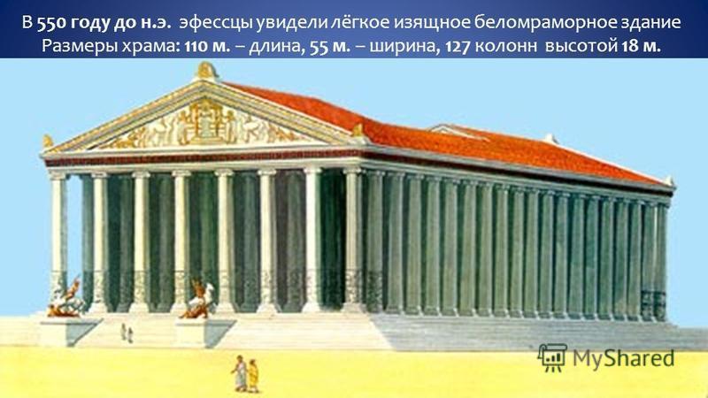 В 550 году до н.э. эфессцы увидели лёгкое изящное беломраморное здание Размеры храма: 110 м. – длина, 55 м. – ширина, 127 колонн высотой 18 м.