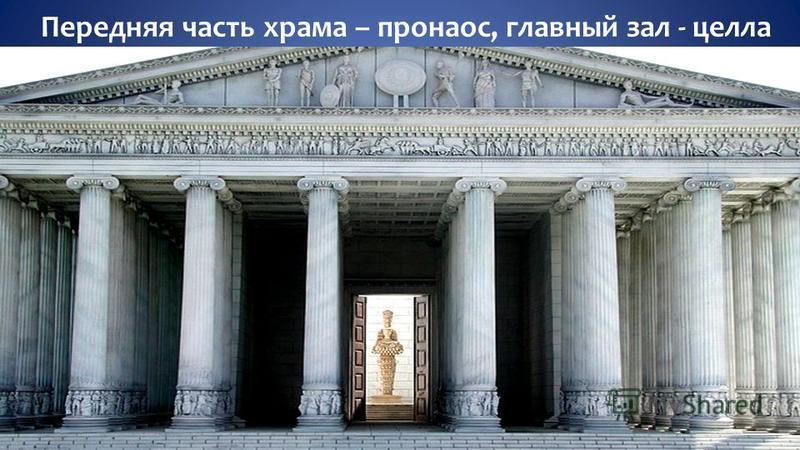 Передняя часть храма – пронаос, главный зал - целла