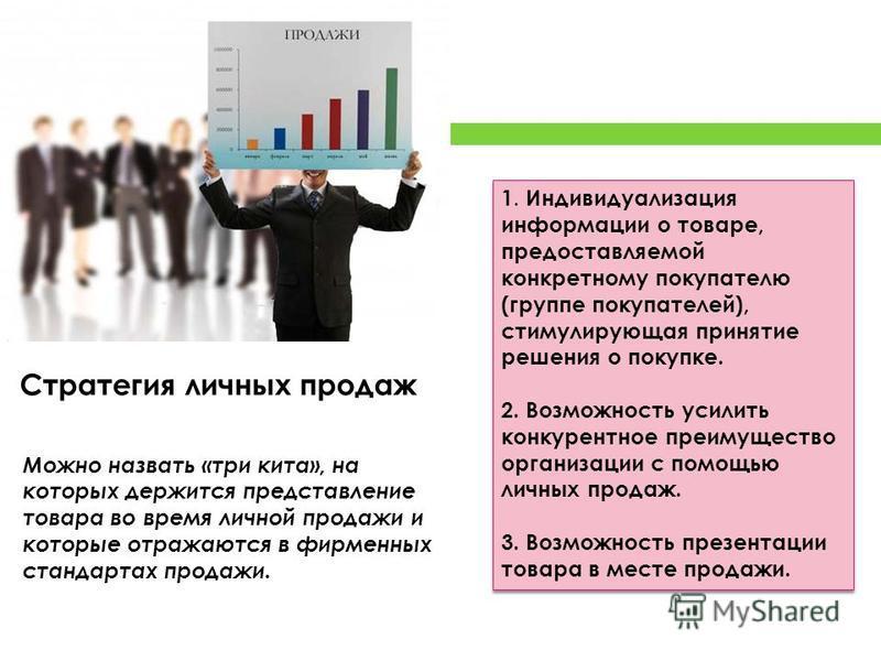 1. Индивидуализация информации о товаре, предоставляемой конкретному покупателю (группе покупателей), стимулирующая принятие решения о покупке. 2. Возможность усилить конкурентное преимущество организации с помощью личных продаж. 3. Возможность презе