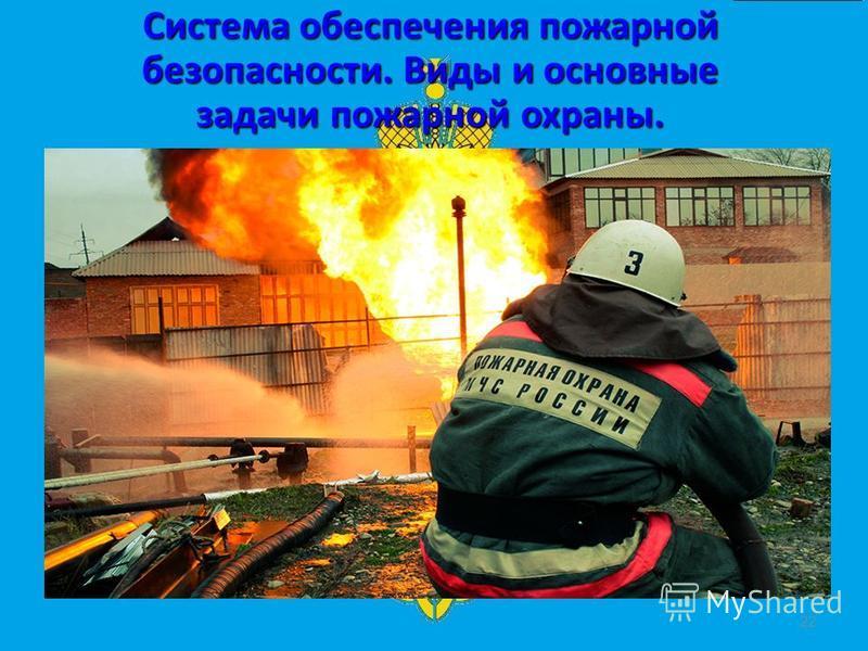 Система обеспечения пожарной безопасности. Виды и основные задачи пожарной охраны. 22