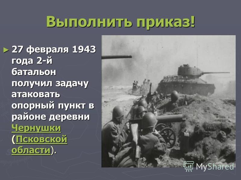 Выполнить приказ! 27 февраля 1943 года 2-й батальон получил задачу атаковать опорный пункт в районе деревни Чернушки (Псковской области). 27 февраля 1943 года 2-й батальон получил задачу атаковать опорный пункт в районе деревни Чернушки (Псковской об