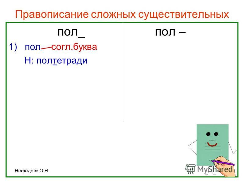 Нефёдова О.Н. Правописание сложных существительных пол_пол – 1)пол согл.буква Н: полтетради