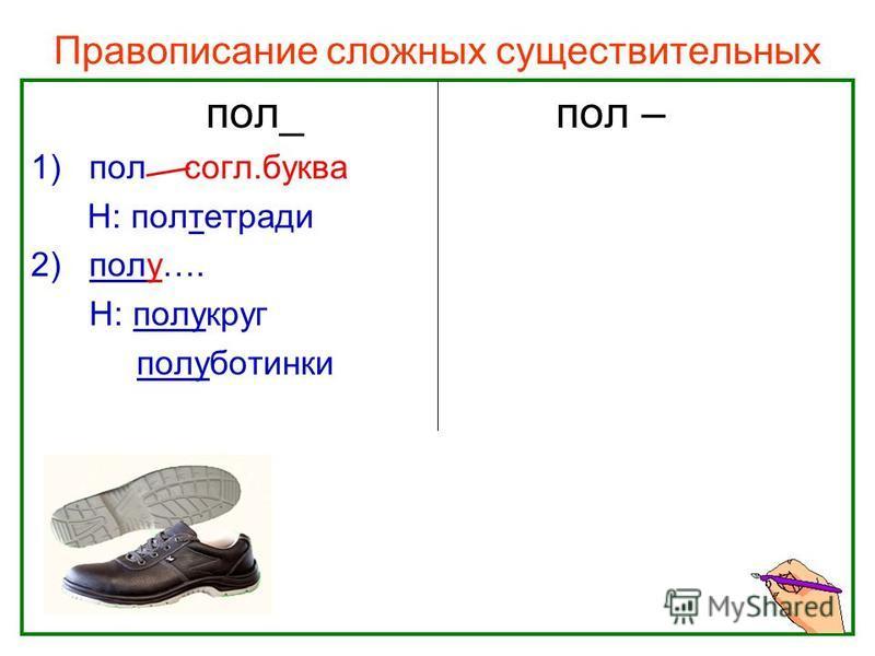 Нефёдова О.Н. Правописание сложных существительных пол_пол – 1)пол согл.буква Н: полтетради 2)полу…. Н: полукруг полуботинки