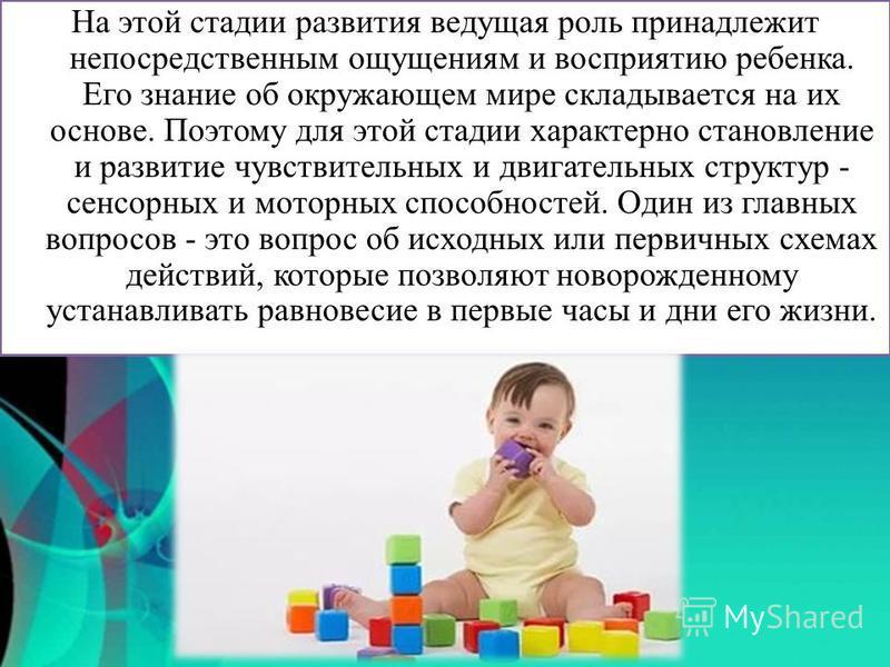 На этой стадии развития ведущая роль принадлежит непосредственным ощущениям и восприятию ребенка. Его знание об окружающем мире складывается на их основе. Поэтому для этой стадии характерно становление и развитие чувствительных и двигательных структу